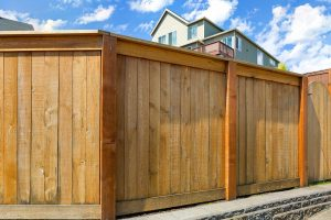 Wood Privacy Fence built in Roanoke, Virginia surrounding a home.